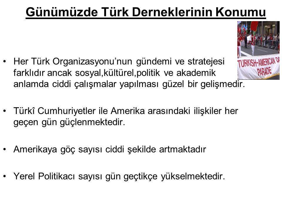 Günümüzde Türk Derneklerinin Konumu Her Türk Organizasyonu'nun gündemi ve stratejesi farklıdır ancak sosyal,kültürel,politik ve akademik anlamda ciddi