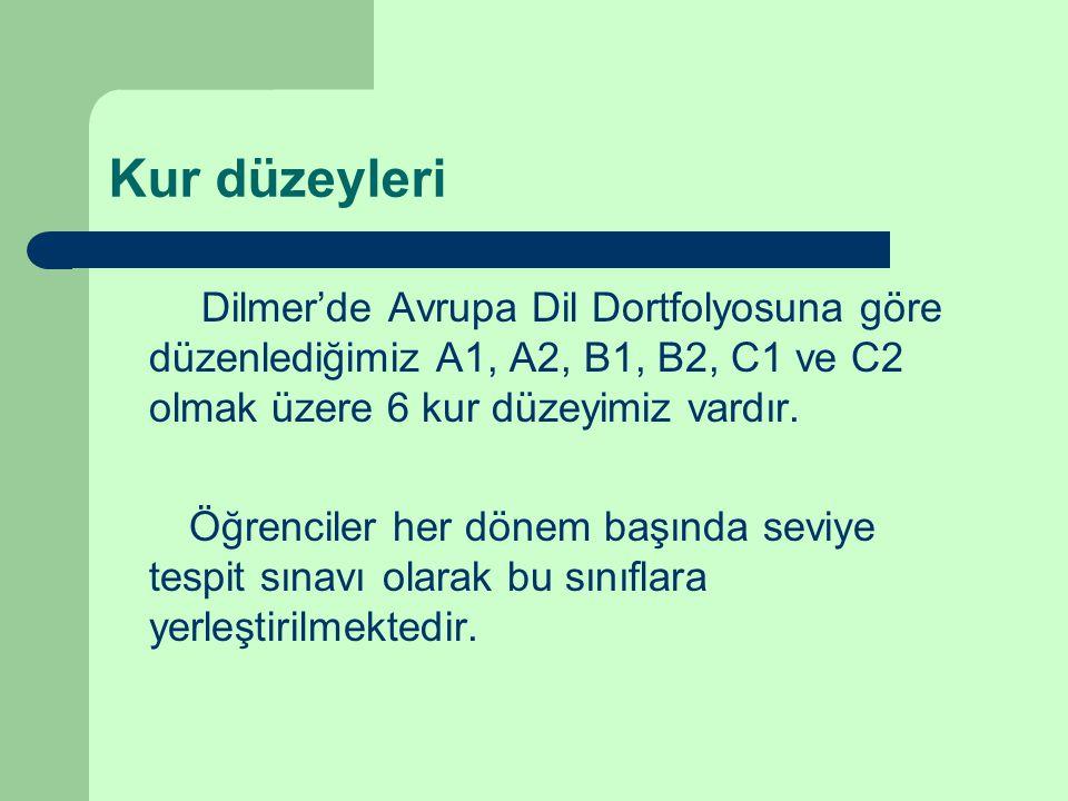 Kur düzeyleri Dilmer'de Avrupa Dil Dortfolyosuna göre düzenlediğimiz A1, A2, B1, B2, C1 ve C2 olmak üzere 6 kur düzeyimiz vardır.