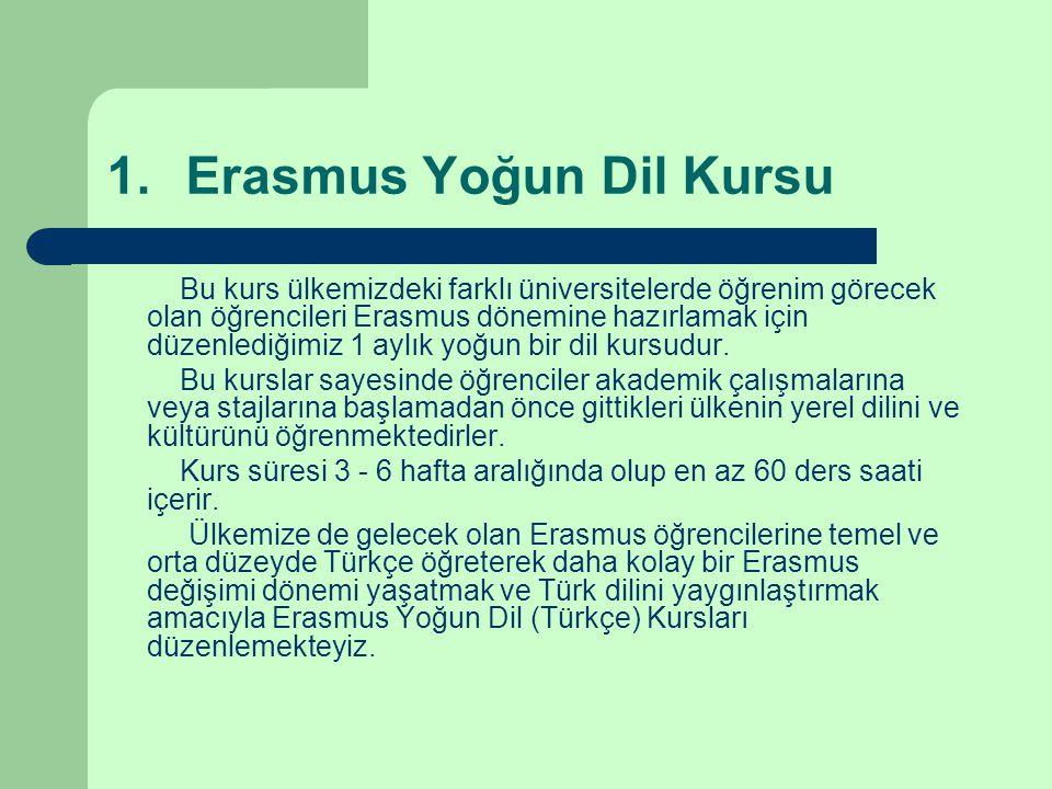 1.Erasmus Yoğun Dil Kursu Bu kurs ülkemizdeki farklı üniversitelerde öğrenim görecek olan öğrencileri Erasmus dönemine hazırlamak için düzenlediğimiz 1 aylık yoğun bir dil kursudur.