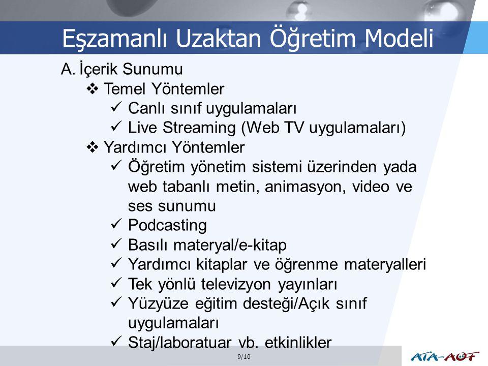 LOGO Eşzamanlı Uzaktan Öğretim Modeli 9/10 A.İçerik Sunumu  Temel Yöntemler Canlı sınıf uygulamaları Live Streaming (Web TV uygulamaları)  Yardımcı