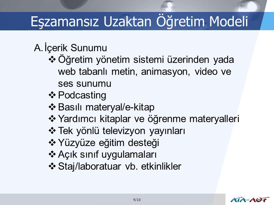 LOGO Eşzamansız Uzaktan Öğretim Modeli 9/10 A.İçerik Sunumu  Öğretim yönetim sistemi üzerinden yada web tabanlı metin, animasyon, video ve ses sunumu