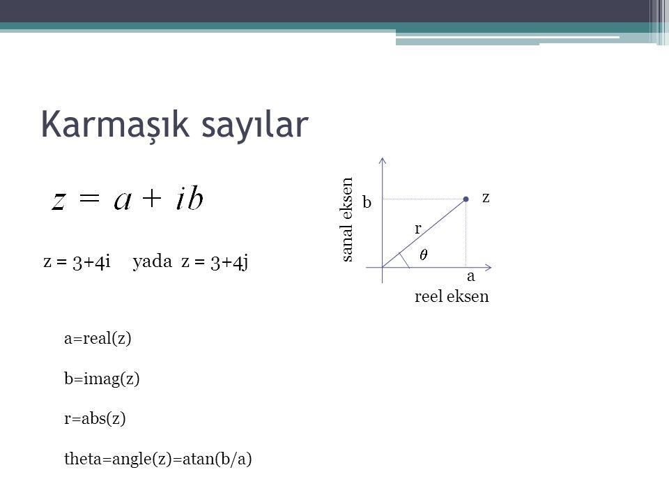 Karmaşık sayılar reel eksen sanal eksen z a b r  z = 3+4i yada z = 3+4j a=real(z) b=imag(z) r=abs(z) theta=angle(z)=atan(b/a)