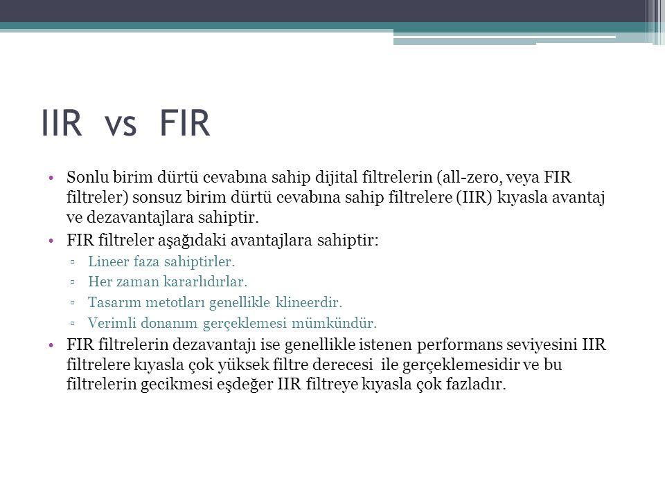 IIR Filtre Tasarım Fonksiyonları Filtre TipiTasarım fonksiyonu Butterworth[b,a] = butter(n,Wn,options) Chebyshev Type I[b,a] = cheby1(n,Rp,Wn,options) Chebyshev Type II[b,a] = cheby2(n,Rs,Wn,options) Elliptic[b,a] = ellip(n,Rp,Rs,Wn,options) [b,a] = butter(5,0.4); % Lowpass Butterworth [b,a] = cheby1(4,1,[0.4 0.7]); % Bandpass Chebyshev Type I [b,a] = cheby2(6,60,0.8, high ); % Highpass Chebyshev Type II [b,a] = ellip(3,1,60,[0.4 0.7], stop ); % Bandstop elliptic