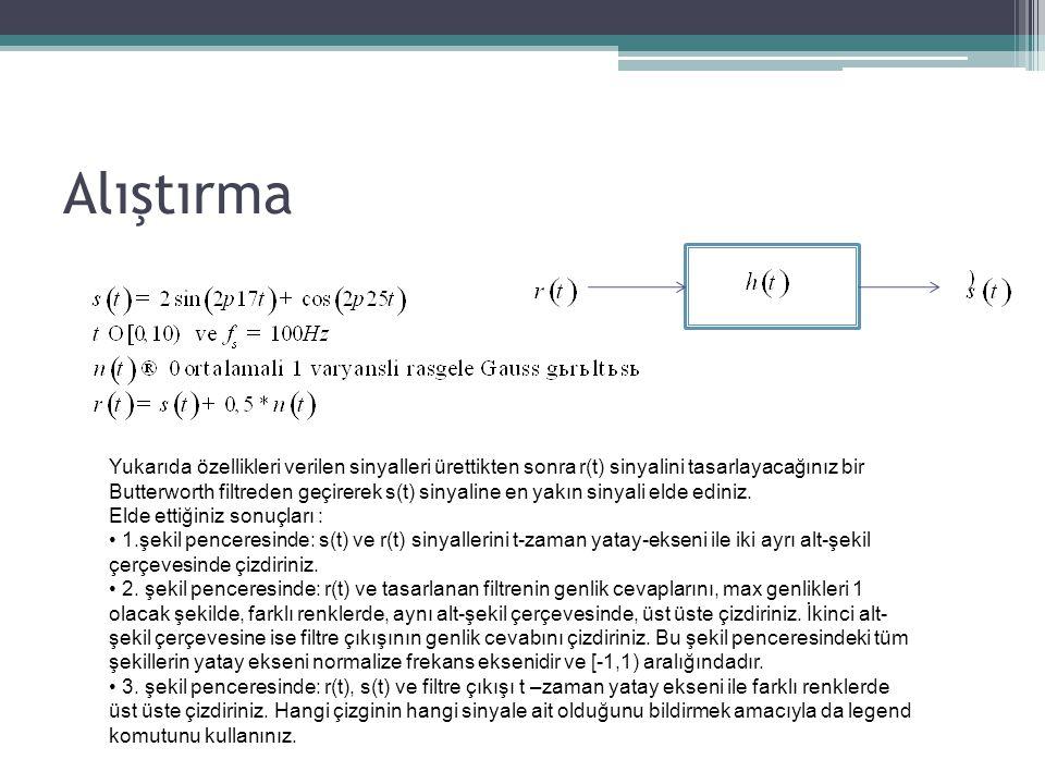 Alıştırma Yukarıda özellikleri verilen sinyalleri ürettikten sonra r(t) sinyalini tasarlayacağınız bir Butterworth filtreden geçirerek s(t) sinyaline en yakın sinyali elde ediniz.