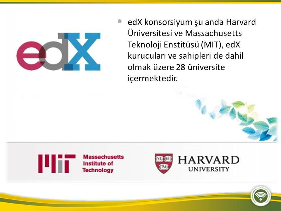 edX konsorsiyum şu anda Harvard Üniversitesi ve Massachusetts Teknoloji Enstitüsü (MIT), edX kurucuları ve sahipleri de dahil olmak üzere 28 üniversit