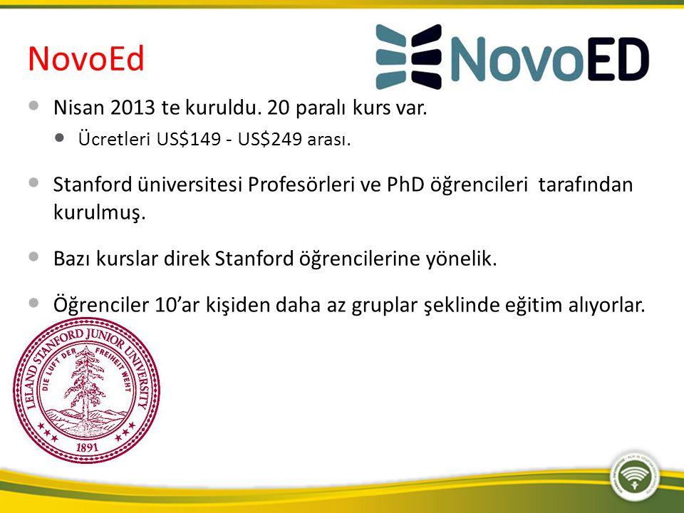 NovoEd Nisan 2013 te kuruldu. 20 paralı kurs var. Ücretleri US$149 - US$249 arası. Stanford üniversitesi Profesörleri ve PhD öğrencileri tarafından ku