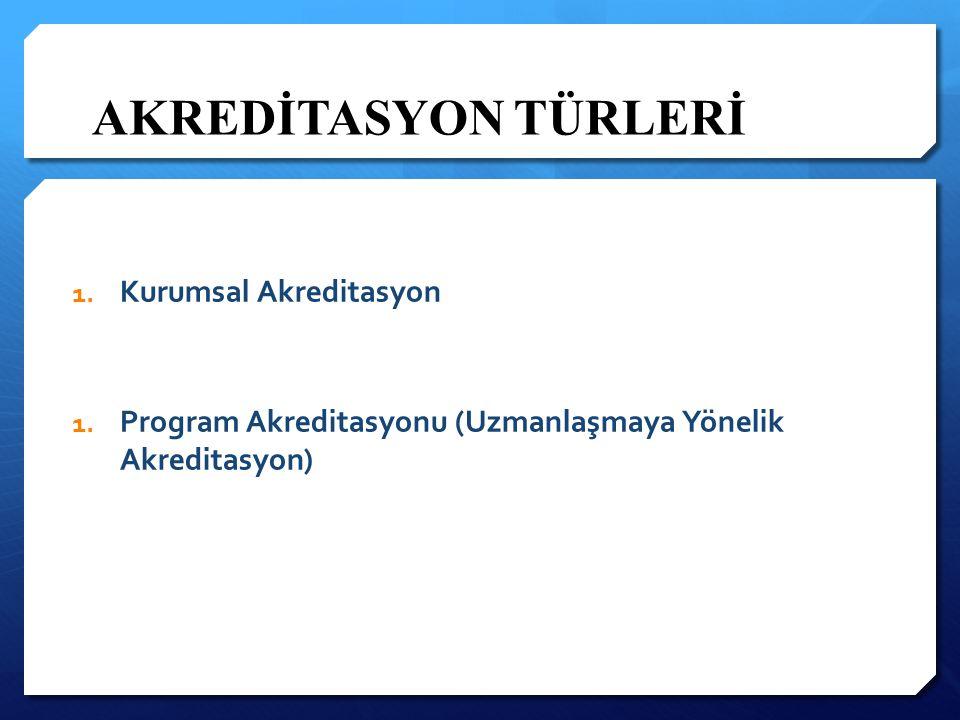 AKREDİTASYON TÜRLERİ 1. Kurumsal Akreditasyon 1. Program Akreditasyonu (Uzmanlaşmaya Yönelik Akreditasyon)