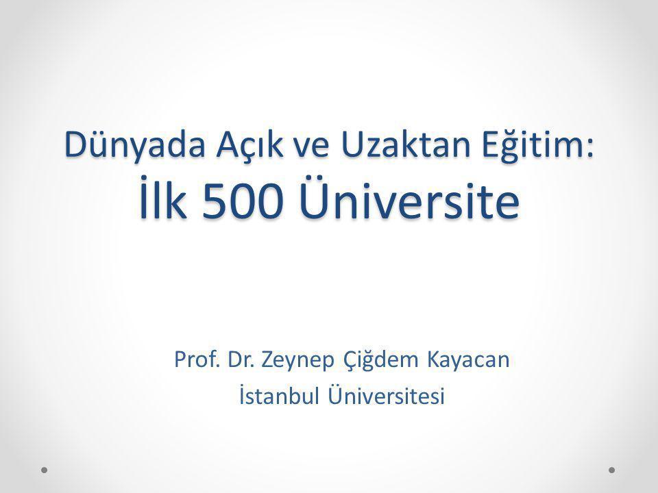 Dünyada Açık ve Uzaktan Eğitim: İlk 500 Üniversite Prof. Dr. Zeynep Çiğdem Kayacan İstanbul Üniversitesi