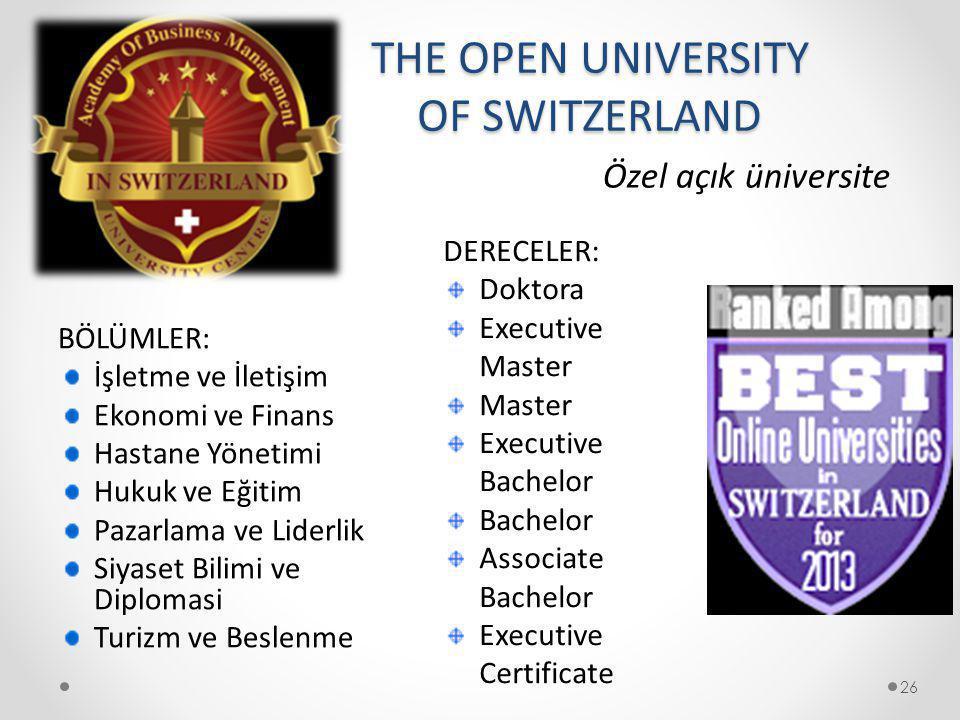 THE OPEN UNIVERSITY OF SWITZERLAND BÖLÜMLER: İşletme ve İletişim Ekonomi ve Finans Hastane Yönetimi Hukuk ve Eğitim Pazarlama ve Liderlik Siyaset Bili