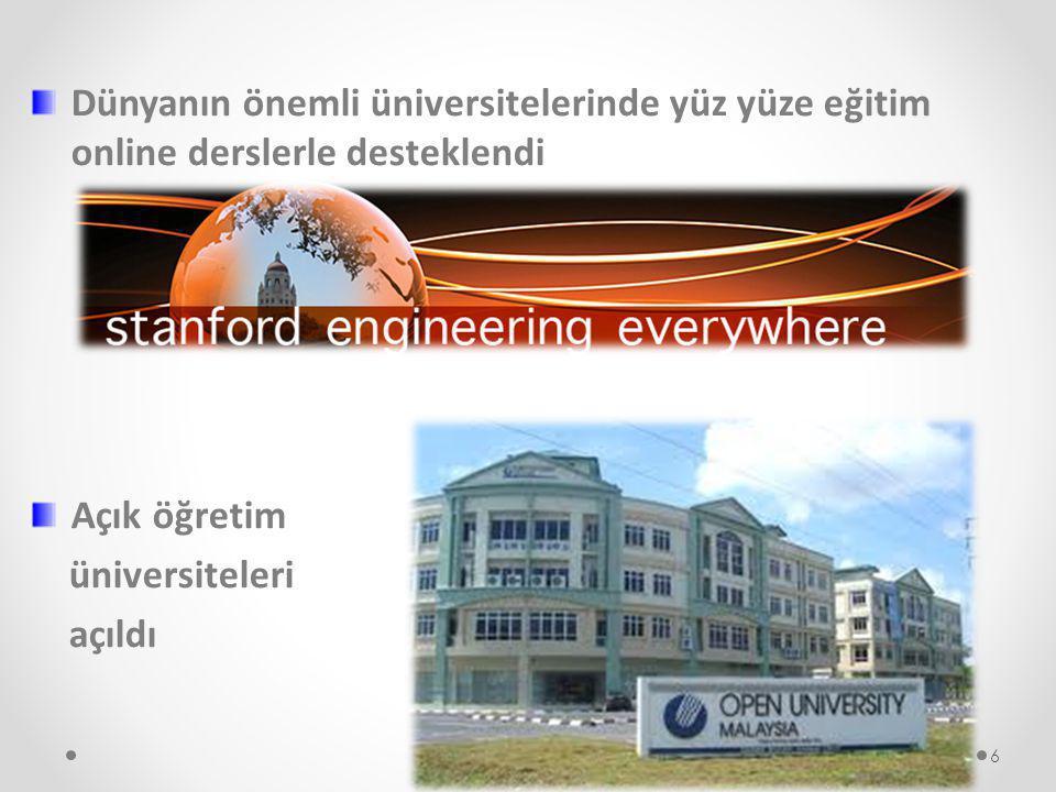 AÇIK ÖĞRETİM Eğitim+Teknoloji = bilginin kitlesel aktarımı = demokratik eğitim modeli Büyük öğrenci kitlelerine «aynı anda aynı eğitimi eşit olarak sunma» fırsatı 7