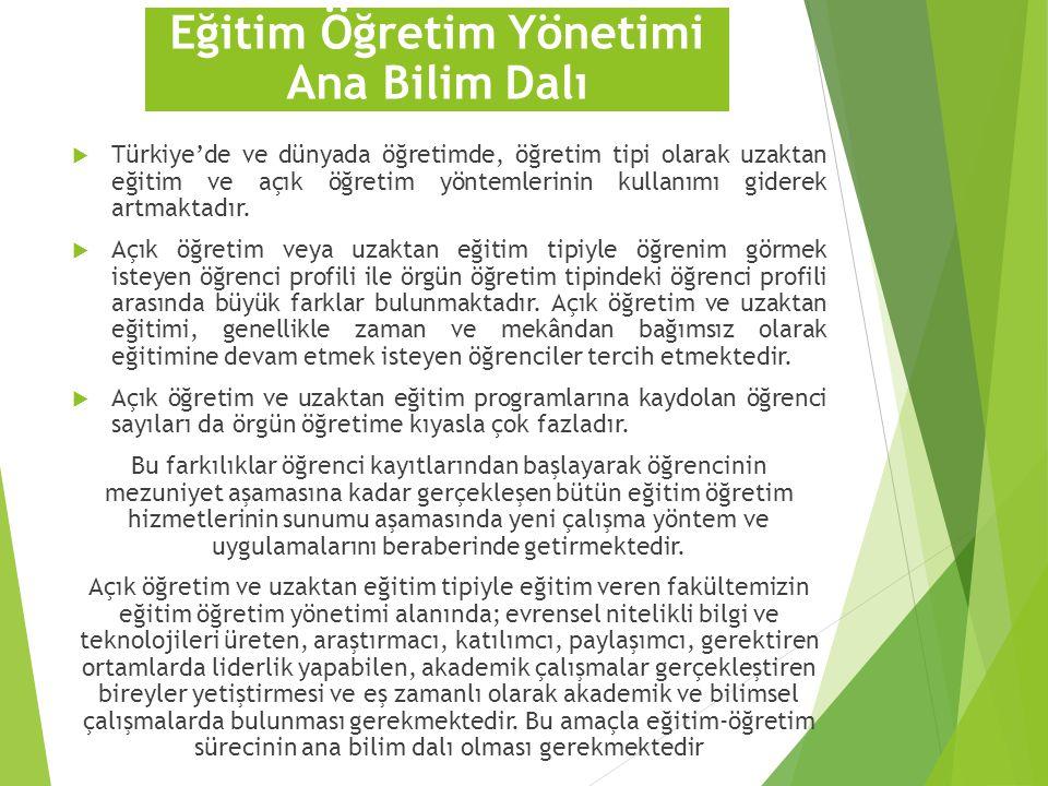  Türkiye'de ve dünyada öğretimde, öğretim tipi olarak uzaktan eğitim ve açık öğretim yöntemlerinin kullanımı giderek artmaktadır.