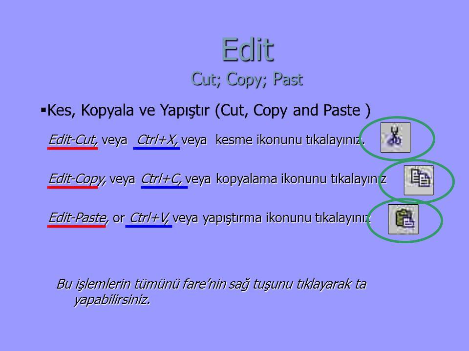 Edit-Copy, veya Ctrl+C, veya kopyalama ikonunu tıkalayınız Edit-Paste, or Ctrl+V, veya yapıştırma ikonunu tıkalayınız Edit-Cut, veya Ctrl+X, veya kesme ikonunu tıkalayınız.