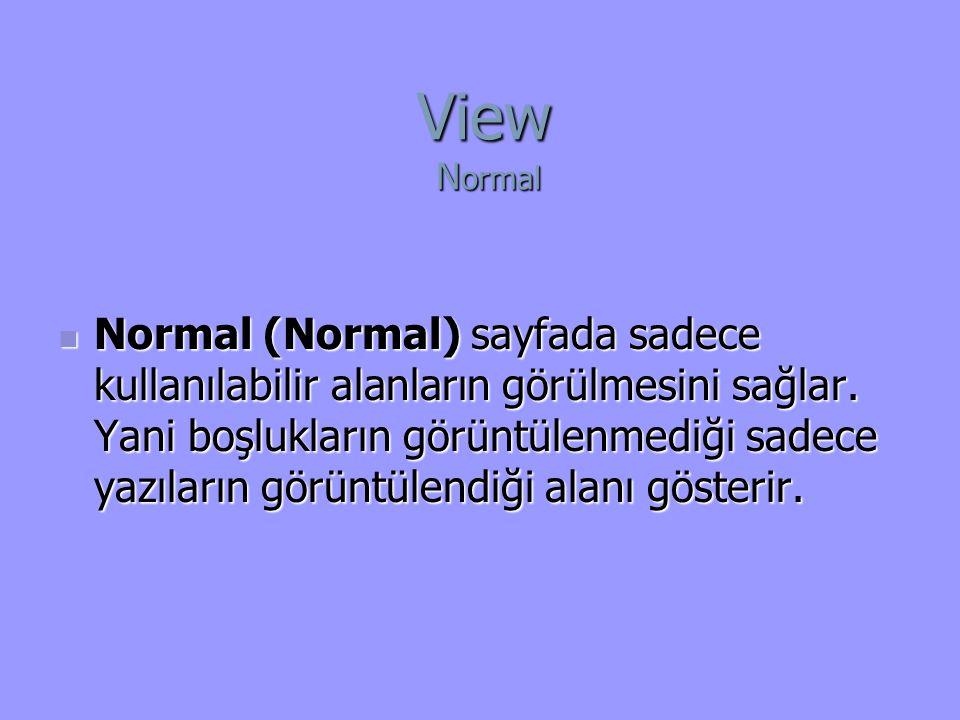 Normal (Normal) sayfada sadece kullanılabilir alanların görülmesini sağlar.