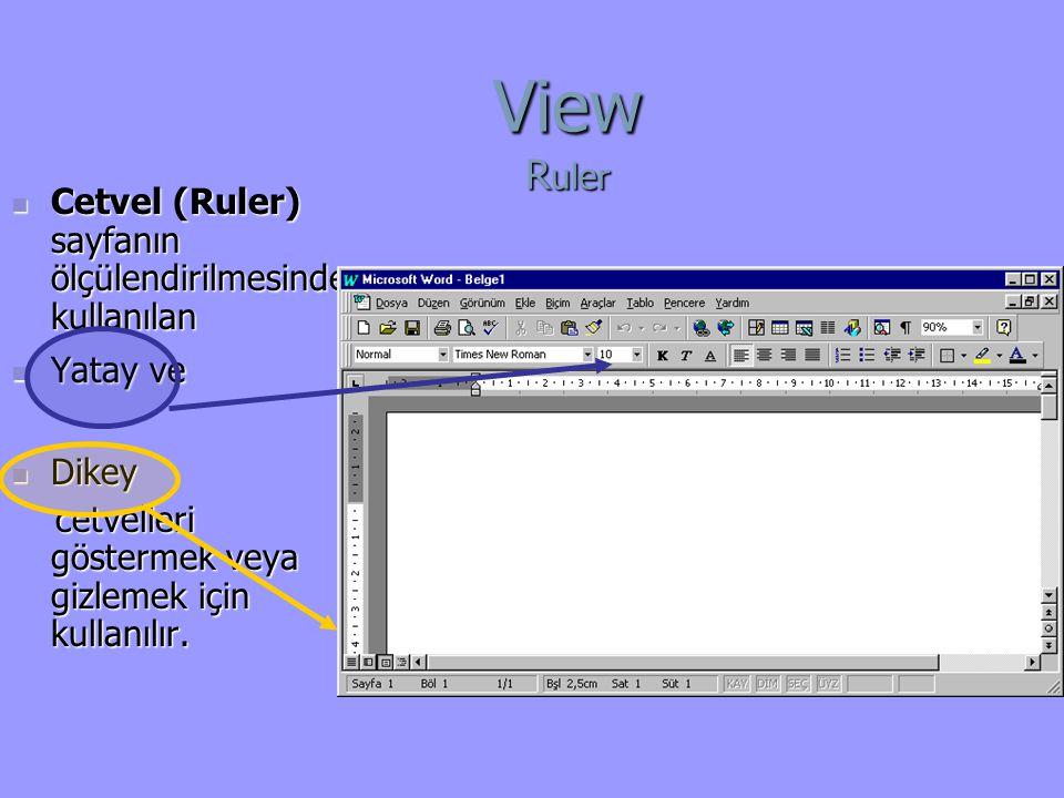 Cetvel (Ruler) sayfanın ölçülendirilmesinde kullanılan Cetvel (Ruler) sayfanın ölçülendirilmesinde kullanılan Yatay ve Yatay ve Dikey Dikey cetvelleri göstermek veya gizlemek için kullanılır.