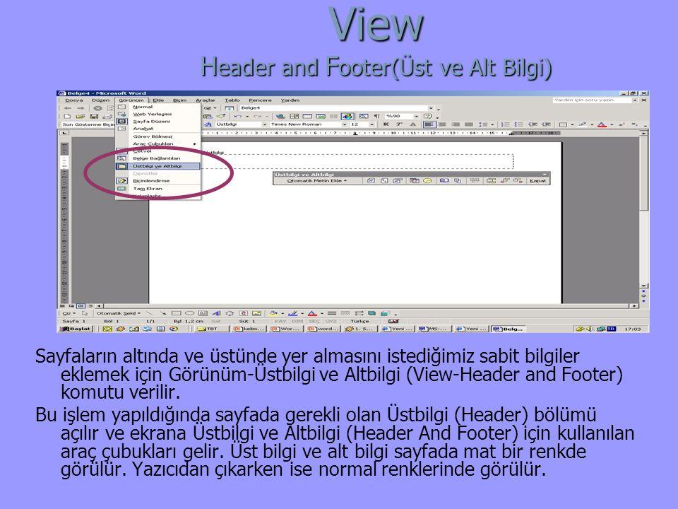 Sayfaların altında ve üstünde yer almasını istediğimiz sabit bilgiler eklemek için Görünüm-Üstbilgi ve Altbilgi (View-Header and Footer) komutu verilir.