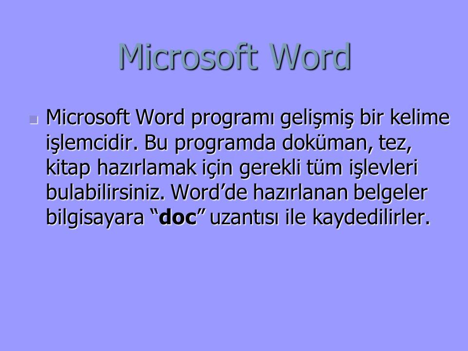 Microsoft Word Microsoft Word programı gelişmiş bir kelime işlemcidir.