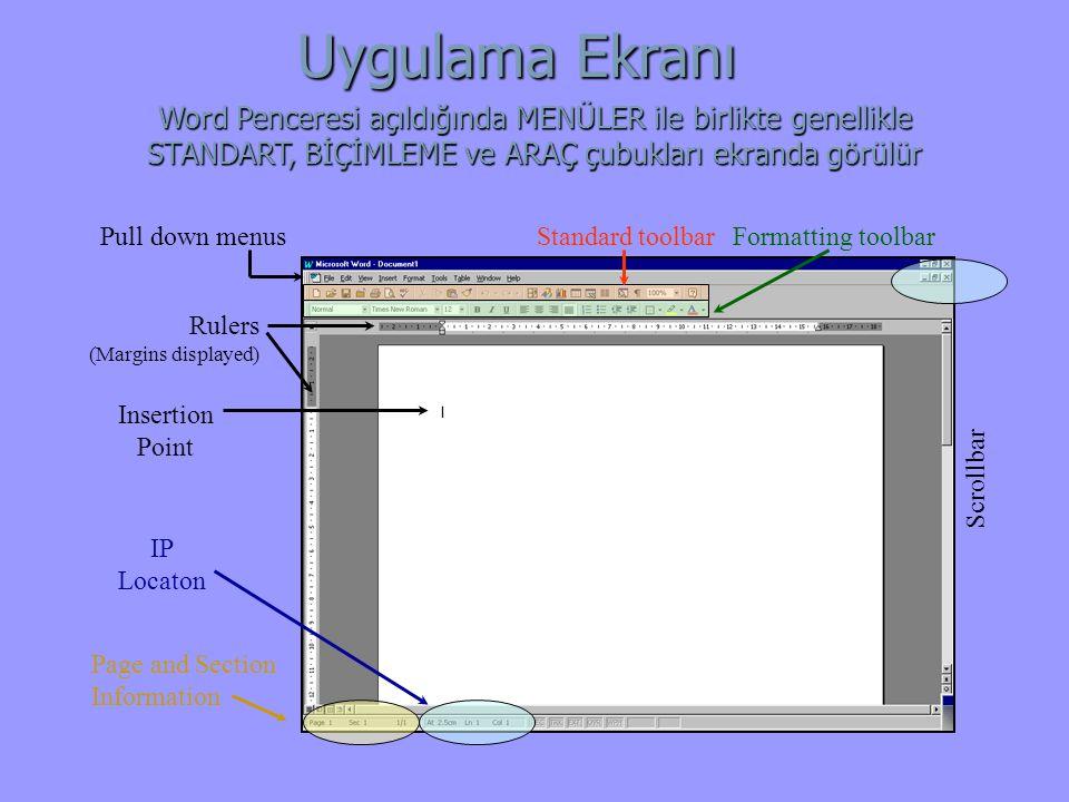 Application window Uygulama Ekranı Standard toolbar Rulers (Margins displayed) Formatting toolbarPull down menus Scrollbar Insertion Point Page and Section Information IP Locaton Word Penceresi açıldığında MENÜLER ile birlikte genellikle STANDART, BİÇİMLEME ve ARAÇ çubukları ekranda görülür