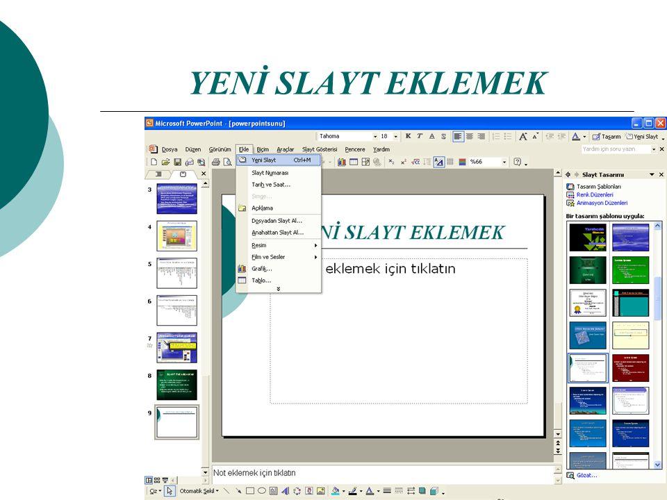 SLAYT TASARLAMAK  Bir slayt seçilen düzene göre başlık ve gövde kısımlarından oluşur:  Başlık kısmı daha büyük karakterlerle yazılır.  Gövde kısmın