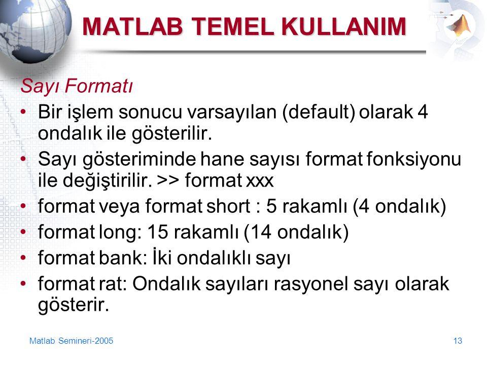 Matlab Semineri-200513 MATLAB TEMEL KULLANIM Sayı Formatı Bir işlem sonucu varsayılan (default) olarak 4 ondalık ile gösterilir. Sayı gösteriminde han