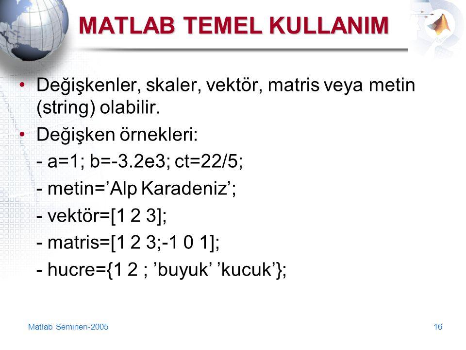 Matlab Semineri-200516 MATLAB TEMEL KULLANIM Değişkenler, skaler, vektör, matris veya metin (string) olabilir. Değişken örnekleri: - a=1; b=-3.2e3; ct
