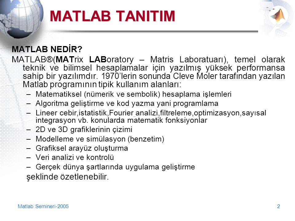 Matlab Semineri-20052 MATLAB TANITIM MATLAB NEDİR? MATLAB®(MATrix LABoratory – Matris Laboratuarı), temel olarak teknik ve bilimsel hesaplamalar için