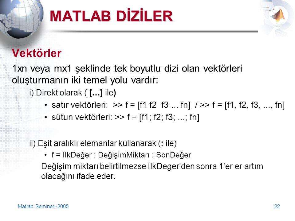 Matlab Semineri-200522 MATLAB DİZİLER Vektörler 1xn veya mx1 şeklinde tek boyutlu dizi olan vektörleri oluşturmanın iki temel yolu vardır: i) Direkt o