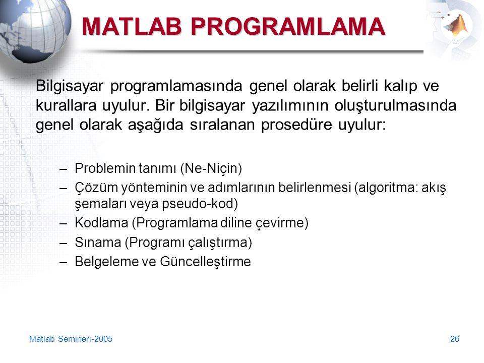 Matlab Semineri-200526 MATLAB PROGRAMLAMA Bilgisayar programlamasında genel olarak belirli kalıp ve kurallara uyulur. Bir bilgisayar yazılımının oluşt