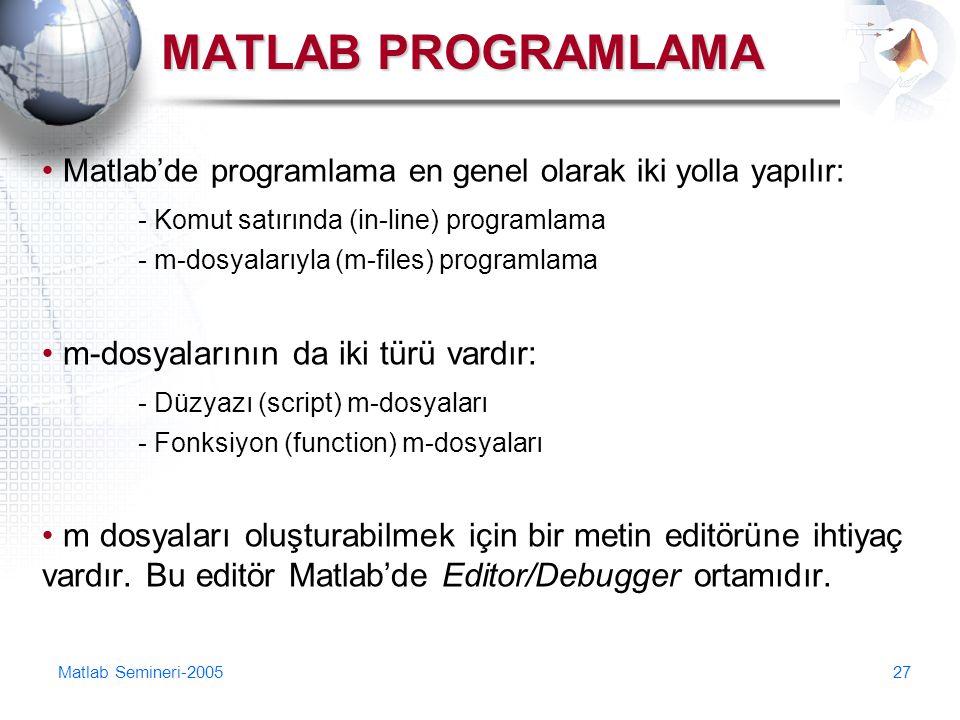 Matlab Semineri-200527 MATLAB PROGRAMLAMA Matlab'de programlama en genel olarak iki yolla yapılır: - Komut satırında (in-line) programlama - m-dosyala