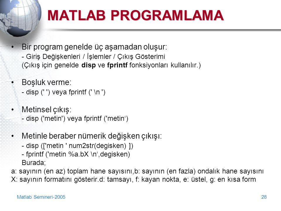 Matlab Semineri-200528 MATLAB PROGRAMLAMA Bir program genelde üç aşamadan oluşur: - Giriş Değişkenleri / İşlemler / Çıkış Gösterimi (Çıkış için geneld