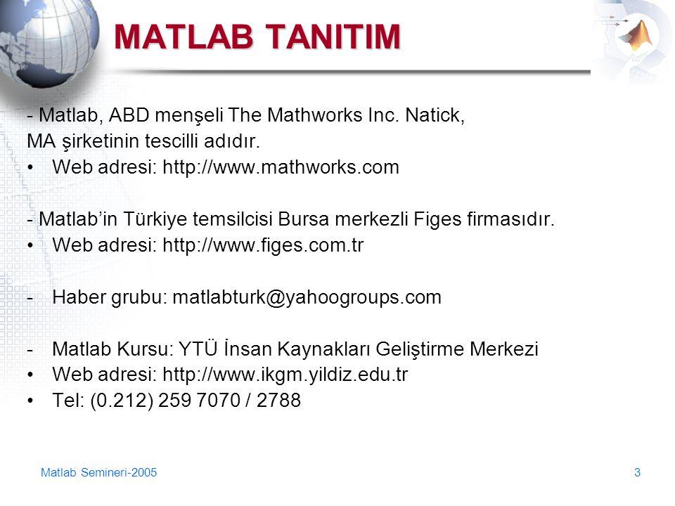 Matlab Semineri-20053 MATLAB TANITIM - Matlab, ABD menşeli The Mathworks Inc. Natick, MA şirketinin tescilli adıdır. Web adresi: http://www.mathworks.