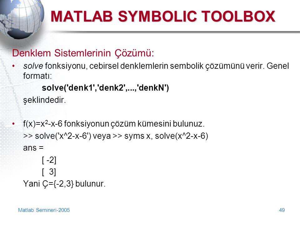 Matlab Semineri-200549 MATLAB SYMBOLIC TOOLBOX Denklem Sistemlerinin Çözümü: solve fonksiyonu, cebirsel denklemlerin sembolik çözümünü verir. Genel fo