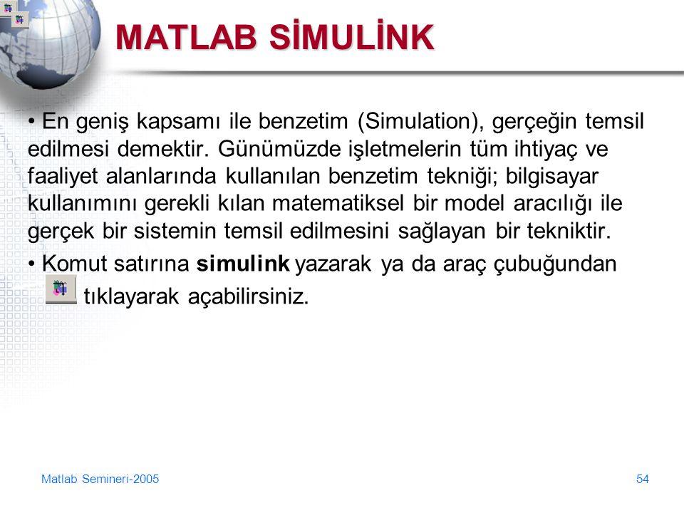 Matlab Semineri-200554 MATLAB SİMULİNK En geniş kapsamı ile benzetim (Simulation), gerçeğin temsil edilmesi demektir. Günümüzde işletmelerin tüm ihtiy