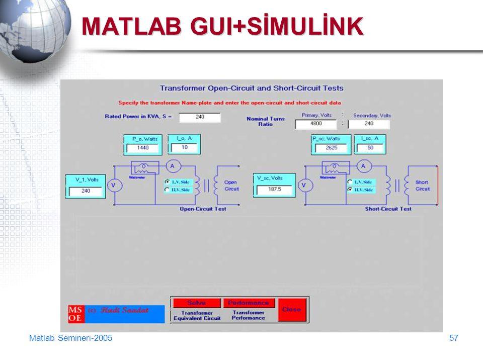 Matlab Semineri-200557 MATLAB GUI+SİMULİNK