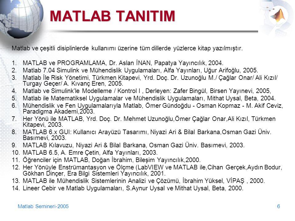 Matlab Semineri-20056 MATLAB TANITIM Matlab ve çeşitli disiplinlerde kullanımı üzerine tüm dillerde yüzlerce kitap yazılmıştır. 1.MATLAB ve PROGRAMLAM