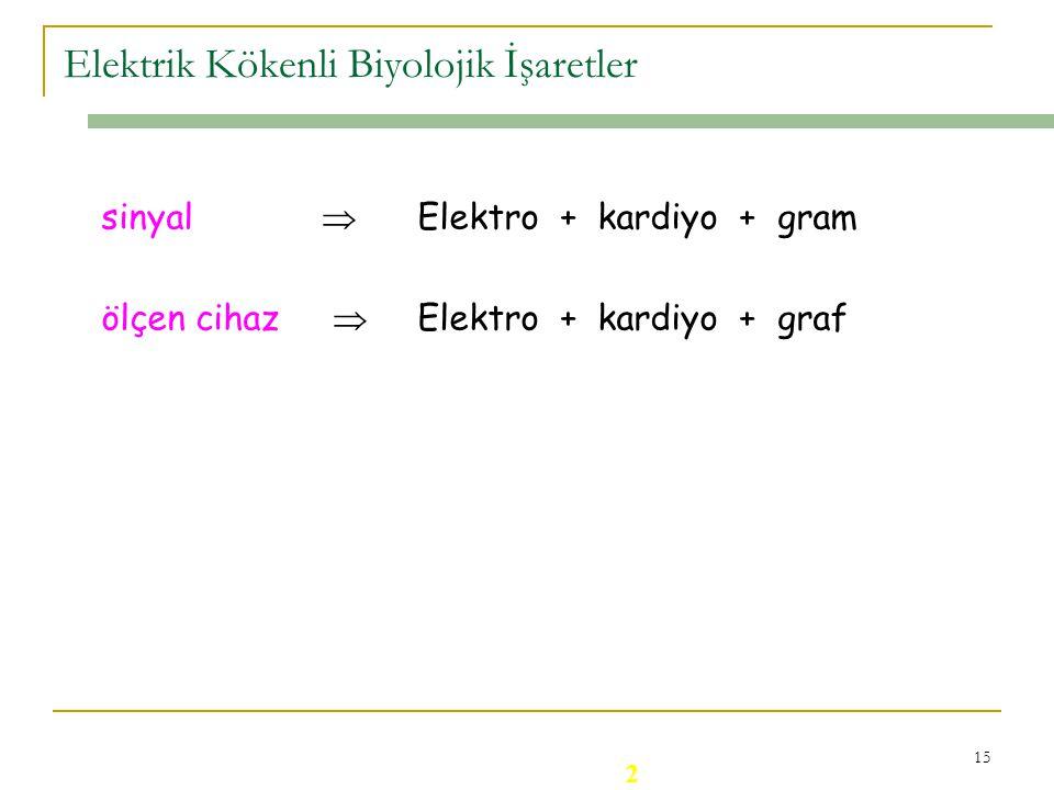 14 Elektrik Kökenli Biyolojik İşaretlerin Özellikleri : * Elektrotlar aracılığıyla canlı vücudundan algılanırlar, yalıtım önemlidir, * Genlikleri küçü