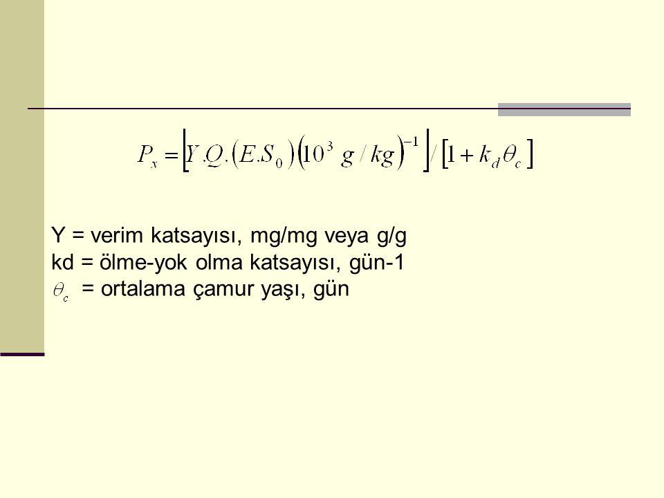 Y = verim katsayısı, mg/mg veya g/g kd = ölme-yok olma katsayısı, gün-1 = ortalama çamur yaşı, gün