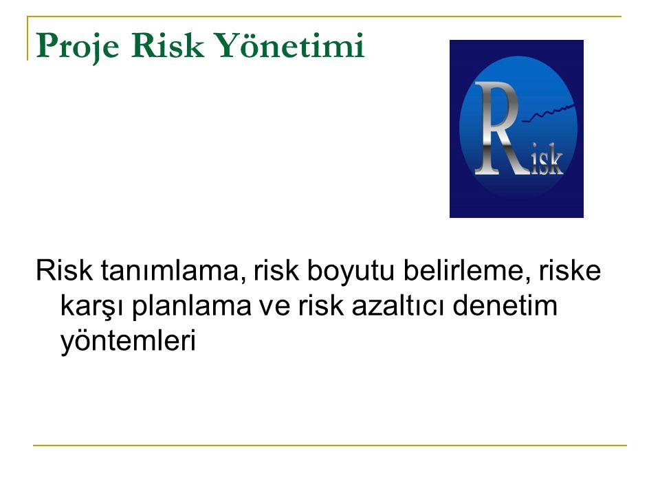 Proje Risk Yönetimi Risk tanımlama, risk boyutu belirleme, riske karşı planlama ve risk azaltıcı denetim yöntemleri