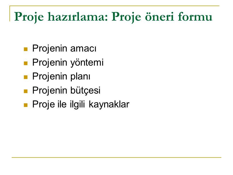 Proje hazırlama: Proje öneri formu Projenin amacı Projenin yöntemi Projenin planı Projenin bütçesi Proje ile ilgili kaynaklar
