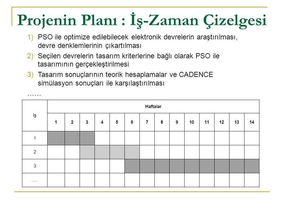 Projenin Planı : İş-Zaman Çizelgesi İŞ Haftalar 1234567891011121314 1 2 3..... 1)PSO ile optimize edilebilecek elektronik devrelerin araştırılması, de