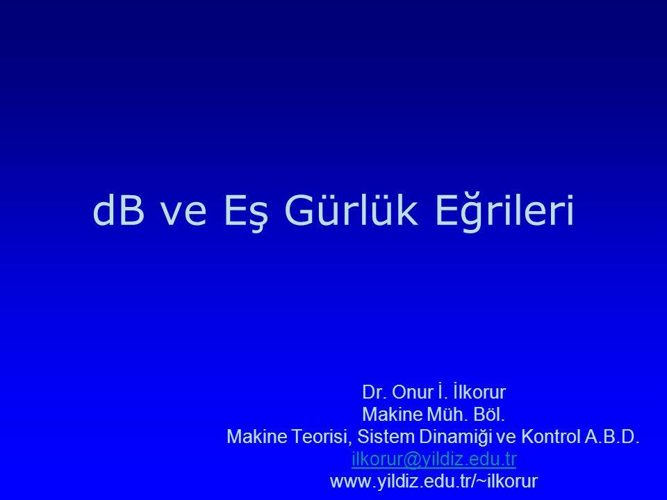 dB ve Eş Gürlük Eğrileri Dr. Onur İ. İlkorur Makine Müh. Böl. Makine Teorisi, Sistem Dinamiği ve Kontrol A.B.D. ilkorur@yildiz.edu.tr www.yildiz.edu.t