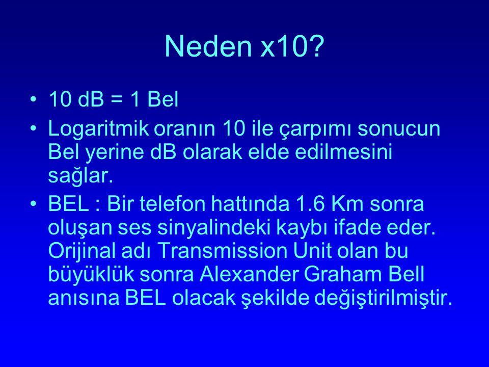 Neden x10? 10 dB = 1 Bel Logaritmik oranın 10 ile çarpımı sonucun Bel yerine dB olarak elde edilmesini sağlar. BEL : Bir telefon hattında 1.6 Km sonra