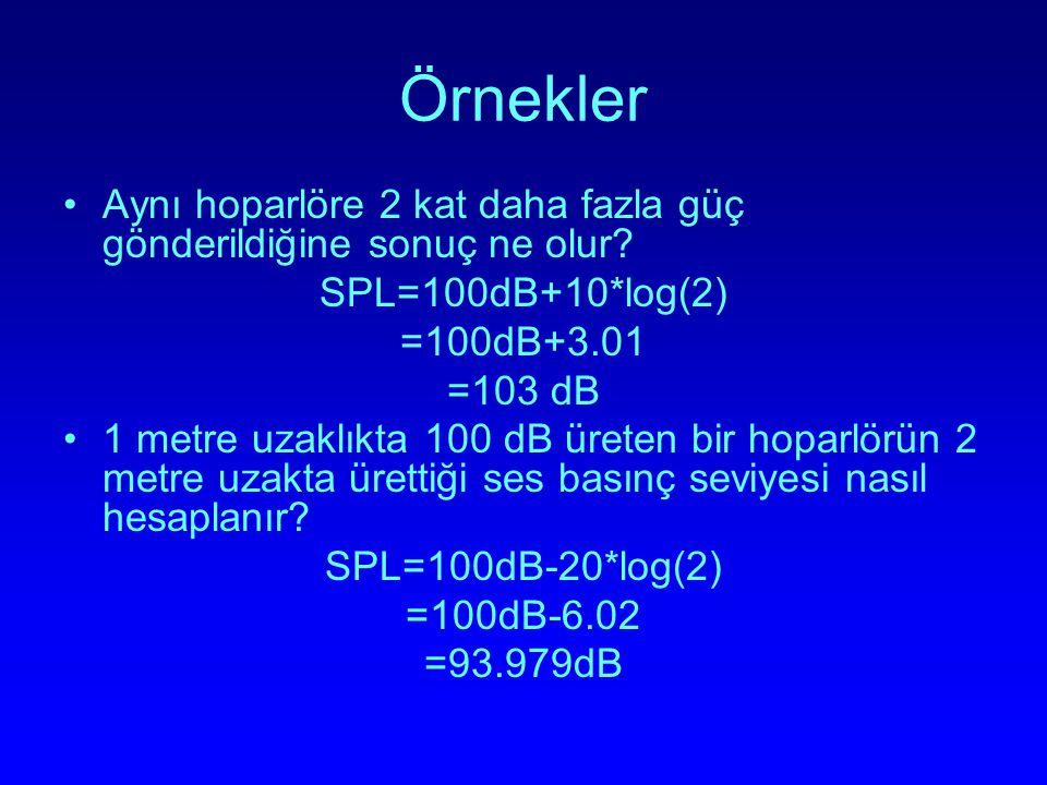Örnekler Aynı hoparlöre 2 kat daha fazla güç gönderildiğine sonuç ne olur? SPL=100dB+10*log(2) =100dB+3.01 =103 dB 1 metre uzaklıkta 100 dB üreten bir