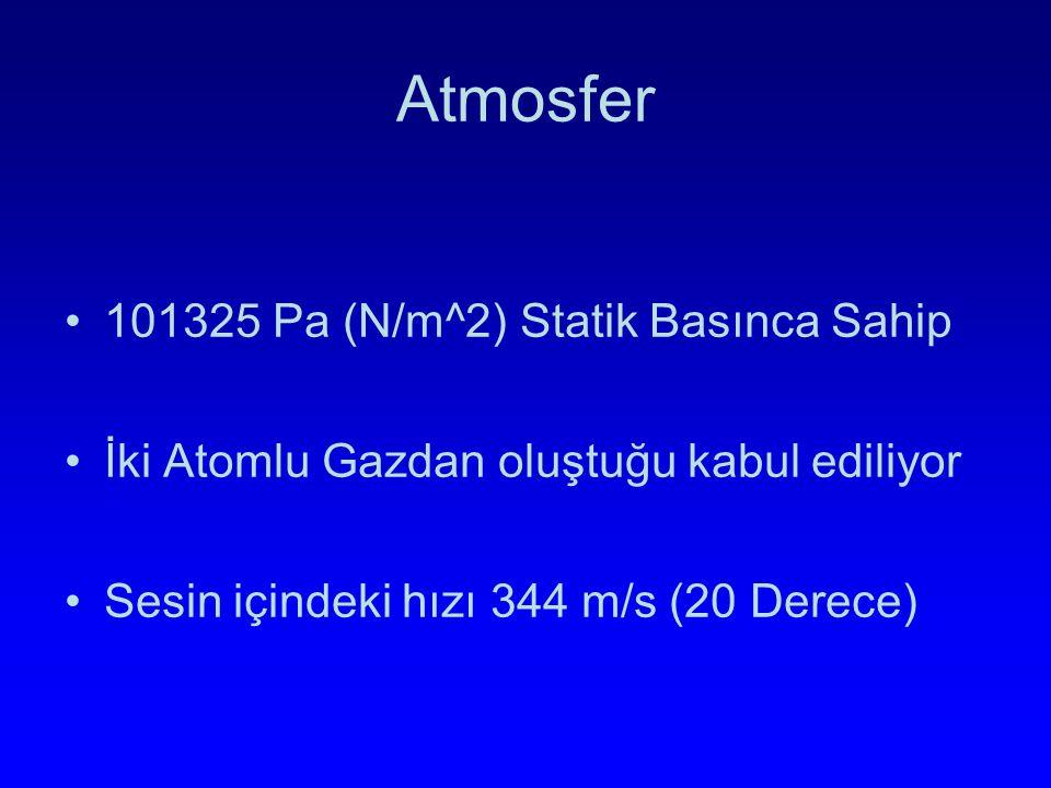 Atmosfer 101325 Pa (N/m^2) Statik Basınca Sahip İki Atomlu Gazdan oluştuğu kabul ediliyor Sesin içindeki hızı 344 m/s (20 Derece)
