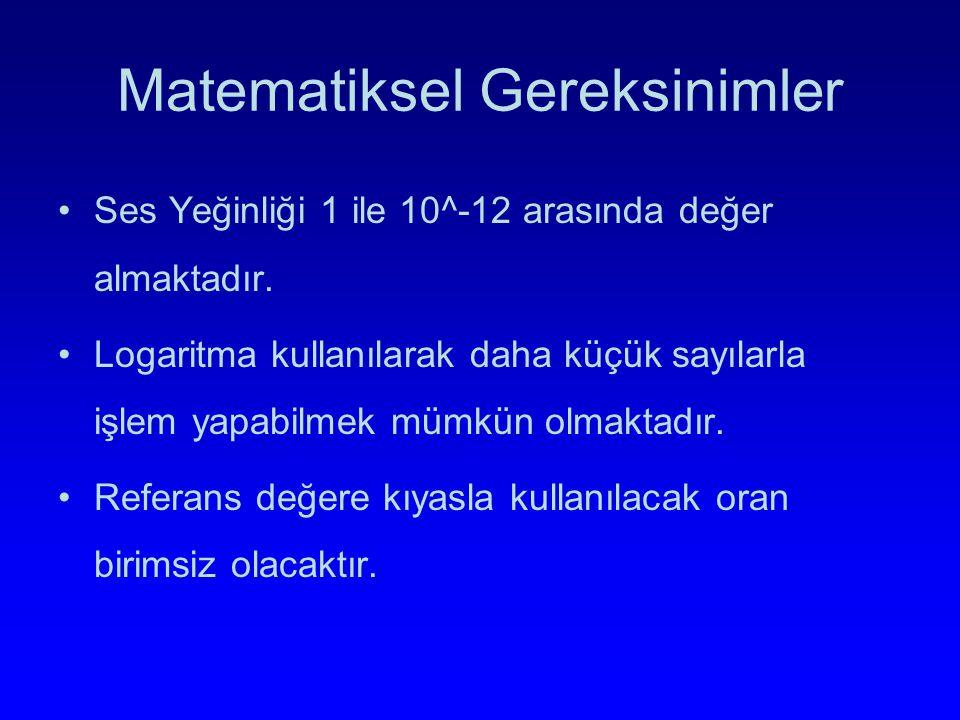 Matematiksel Gereksinimler Ses Yeğinliği 1 ile 10^-12 arasında değer almaktadır. Logaritma kullanılarak daha küçük sayılarla işlem yapabilmek mümkün o