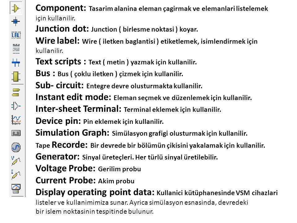 Component: Tasarim alanina eleman çagirmak ve elemanlari listelemek için kullanilir. Junction dot: Junction ( birlesme noktasi ) koyar. Wire label: Wi
