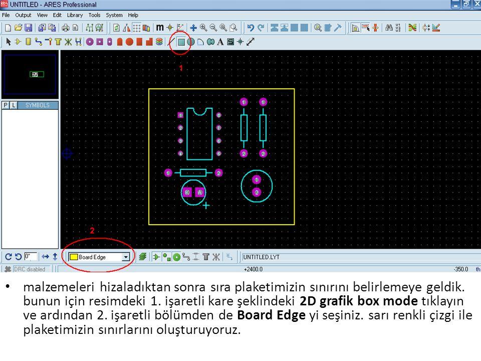 malzemeleri hizaladıktan sonra sıra plaketimizin sınırını belirlemeye geldik. bunun için resimdeki 1. işaretli kare şeklindeki 2D grafik box mode tıkl