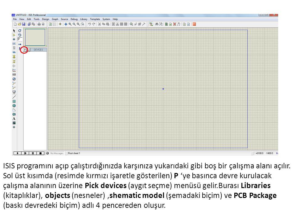 Simulation log penceresi Bu pencere ISIS simülasyonunda neler yaptığının basamak basamak dökümünü verir.Eğer simülasyonunuz hata raporu verir ve kapanırsa buradakine benzer bilgiler görürsünüz
