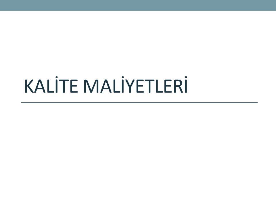 KALİTE MALİYETLERİ