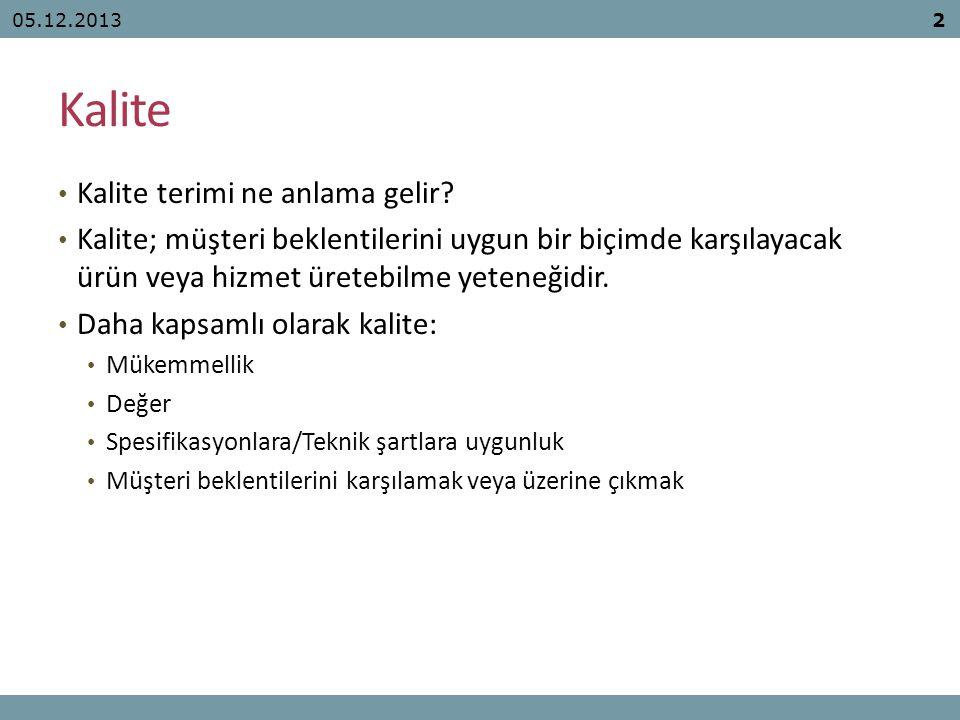 Hata Türlerine Göre Kalite Maliyetleri 05.12.201343
