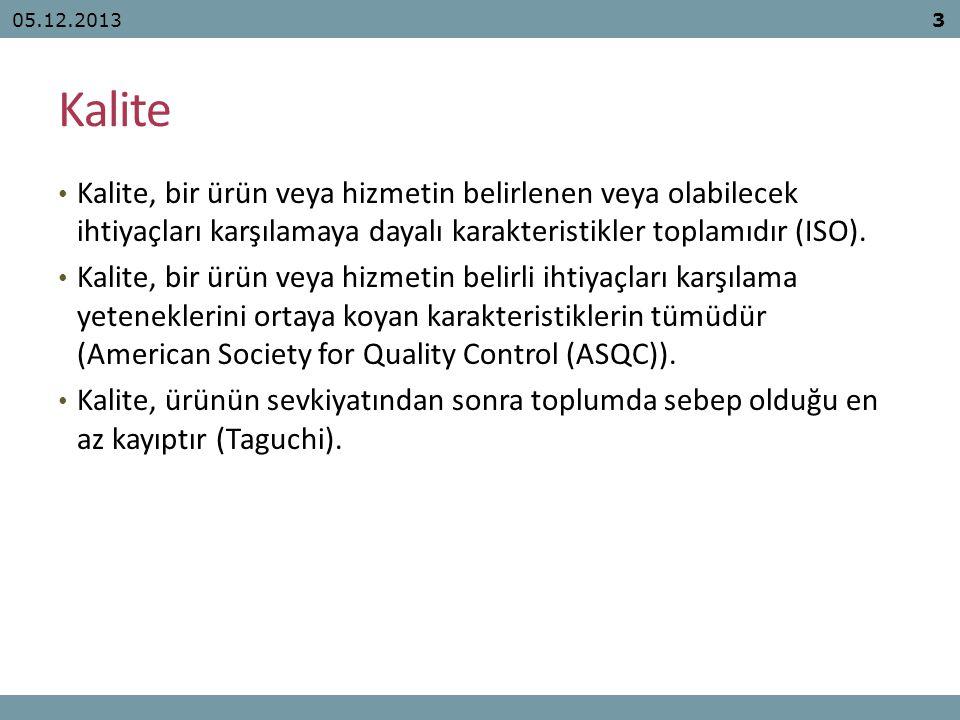Kalite Kalite, bir ürün veya hizmetin belirlenen veya olabilecek ihtiyaçları karşılamaya dayalı karakteristikler toplamıdır (ISO). Kalite, bir ürün ve